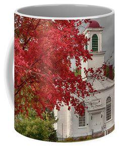 Gilmanton Church under fiery fall colors Coffee Mug for Sale by Jeff Folger
