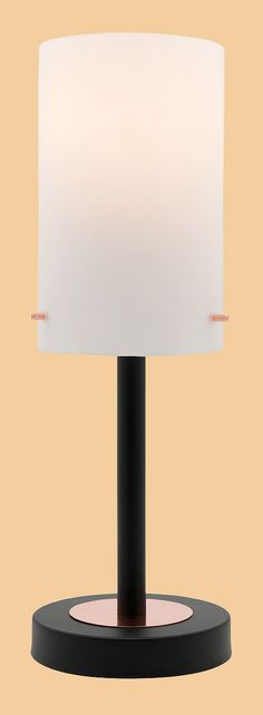 The Becky Touch Table Lamp By Mercator Features A Matt Black Base And Arm  With Copper