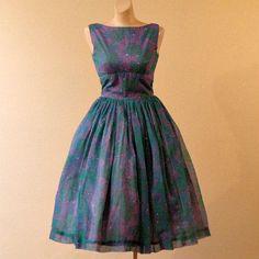 60s Jonathan Logan Chiffon Full Skirt Dress    35b/28w - product image