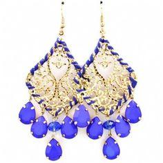 Blue Teardrop Stone Chandelier Earrings! Great color.