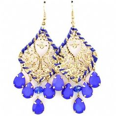 Joyce's Large Bue Teardrop Stone Chandelier Earrings at Fantasy Jewelry Box.   $27.95. This is one of my favorite colors and I have a dress that would go perfect with these.....Love it