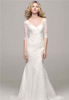 3/4 Sleeve All Over Lace Trumpet Gown - WG3684