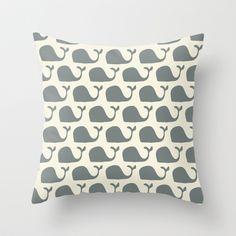 mr whale  Throw Pillow by Jill Bull - $20.00