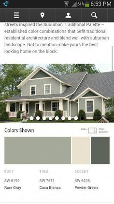 Possible house colors in shades of green from Sherwin Williams paint colors by collection exterior color schemes suburban traditional Exterior Paint Colors For House, Paint Colors For Home, Outside House Paint Colors, House Siding Colors, Exterior Paint Schemes, Craftsman Exterior Colors, Exterior Paint Color Combinations, Vinyl Siding Colors, Green Siding