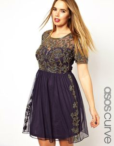 Skater Dress with Baroque Embellishment from ASOS Curve.  Plus size.