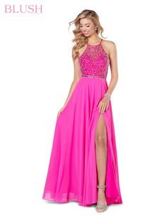 Blush by Alexia Designs - 11720 Beaded Halter Neck Flowy A-Line Gown Prom Outfits, Pink Prom Dresses, Blush Dresses, Prom Dresses Online, Pageant Dresses, Short Dresses, Blush Gown, Blush Prom, Maxi Skirt With Slit
