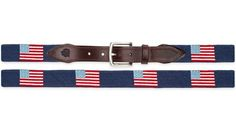 Traditional American Flag Needlepoint Belt on Navy - goodthreads. Hand Stitched in Haiti by members