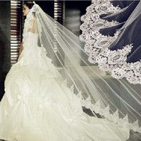 Vintage White Ivory Long Tulle Wedding Bridal Veil One Layer Applique Lace Wedding Veils DH6662