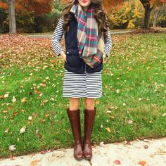striped dress with puffer vest and scarf