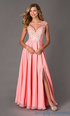 Floor Length Cap Sleeve Open Back Dave and Johnny Dress at SimplyDresses.com