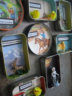 awesome little art pieces. Would make nice magnets for the fridge. (made in mint tins and jar lids)