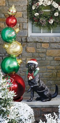 Standing over 5 feet tall and crafted of durable polyresin, our handpainted Stacking Ornaments are an eye-catching addition to your indoor or outdoor holiday display. Weathered Paint, Cat Statue, Lawn Ornaments, Santa Sleigh, Tree Toppers, Christmas Tree, Indoor, Hand Painted, Display