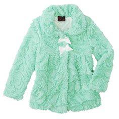 Girls Rule Mint Green Plush Faux Fur Dressy Jacket Fully Lined Coat