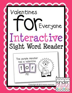 """Valentines for Everyone"" Interactive Sight Word Reader, only $1"