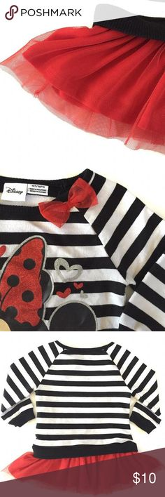Disney Minnie Mouse Tunic Adorable Minnie Mouse tunic with tutu like bottom.  It's black and white stripe with red tulle and silver glitter accents. Disney Shirts & Tops Tees - Long Sleeve
