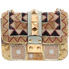 VALENTINO Mini Lock Beaded Leather Shoulder Bag (25.405 NOK) ❤ liked on Polyvore featuring bags, handbags, shoulder bags, clutches, borse, valentino, bolsas, valentino handbags, studded leather purse e leather shoulder handbags