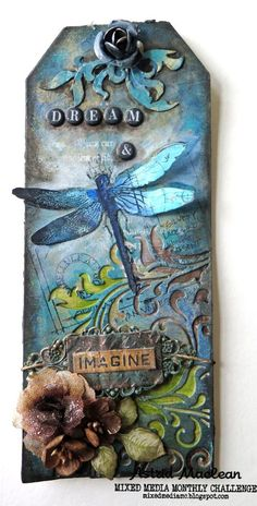 Dimension for Mixed Media Monthly - - Dimension for Mixed Media Monthly Tags Astrid's Artistic Efforts: See post (base is long Prima Mixed Media tag and at the top are some of the bits that had been cut away from the Mixed Media Thinlets swirls) Card Tags, Gift Tags, Etiquette Vintage, Mixed Media Cards, Handmade Tags, Marianne Design, Paper Tags, Vintage Tags, Artist Trading Cards
