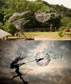 1 O'clock Wish: Fantasy Wire Fairy Sculpture being blown along by the wind.  3 foot tall. Stainless steel.  Can be mounted on a bearing and act as a large weather vane.  Anyone got an extra 2000 pounds?  I love this! http://www.fantasywire.co.uk/Iwishfairydetail.html