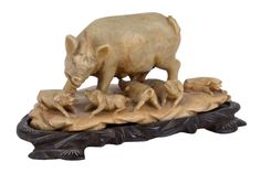 China 20. Jh. - A Chinese Soapstone Group of a Sow & Piglets - Cinese Chinois