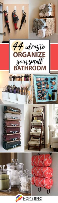 Re-organize your towels and toiletries during your next round of spring cleaning. Re-organize your towels and toiletries during your next round of spring cleaning. Check out some of the best small bathroom storage ideas! Diy Storage, Organization Hacks, Storage Ideas, Makeup Storage, Organizing Ideas, Storage Organizers, Creative Storage, Storage Shelves, Recycling Storage