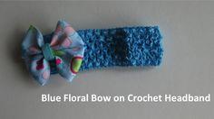 Blue Floral bow on crochet headband