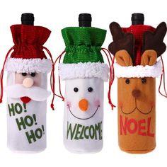 High Quality 1Pc Sequin Santa Snowman Skin Design Christmas Wine Bottle Covers B