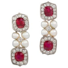 Untreated Burma Ruby and Pearl Drop Earrings | From a unique collection of vintage drop earrings at https://www.1stdibs.com/jewelry/earrings/drop-earrings/