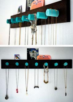 DIY Necklace Organizer | 20 DIY Closet Organization Ideas for The Home | DIY Closet Storage Ideas for Small Spaces