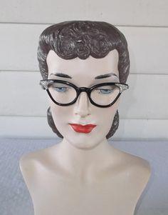 40s 50s Vintage Cat Eye Glasses Frames Black by MyVintageHatShop