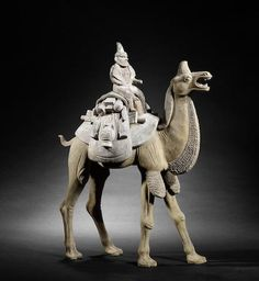 A very large pottery model of a camel and rider Tang Dynasty. 唐 陶胎彩繪胡人騎駱駝俑