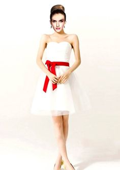 White And Red Bridesmaid Dresses Quincy