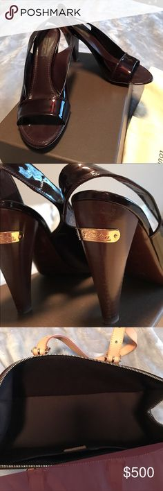 Authentic Louis Vuitton sling back pump Burgundy Patent Leather made in Italy sling back pump.  Size 9.5 worn once with mild scuff in the soles. Louis Vuitton Shoes Heels