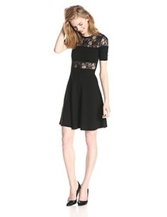 French Connection Womens Linear Wrap Short Sleeve Lace Detail Dress Black 8 ** Click image to review more details.(This is an Amazon affiliate link and I receive a commission for the sales)