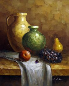 "Pots Fruit Still Life Oil Painting - Canvas 20""x16"" - Frame & Art #OilPaintingOleo"