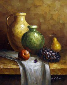 "Pots Fruit Still Life Oil Painting - Canvas 20""x16"" - Frame & Art"