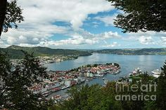 Panoramic top view on the harbor of Bergen, Norway