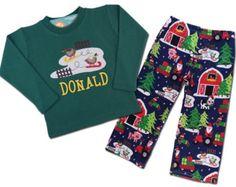 Boy's Christmas Outfit with 'Christmas on the Farm' Shirt and Matching Christmas Pants