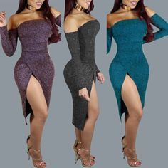 Sexy Long Sleeve Off Shoulder High Slit Bodycon Dress