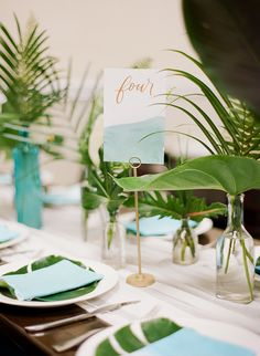 A destination wedding doesn't need be far from home. This tropical Catalina Island wedding took place just across the pond from this couple's mainland digs, and yet it feels like a total escape! Tropical Wedding Centerpieces, Tropical Wedding Decor, Tropical Bridal Showers, Tropical Home Decor, Tropical Colors, Modern Tropical, Wedding Decorations, Tropical Furniture, Tropical Weddings