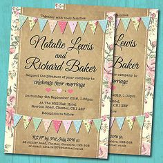 Personalised Wedding Day Invitations & Envelopes *Pastel Colour Bunting