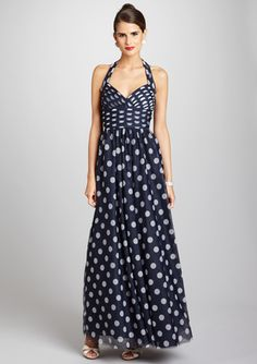 unexpected and fun.... navy polka dot halter gown