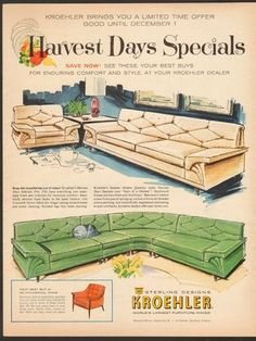 A wonderful vintage 1960 magazine advertisement for Kroehler Sterling Designs Furniture... the ultimate sectional sofa in green!
