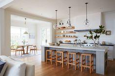 Gorgeous wood tones in this colonial farmhouse kitchen house tour on coco k New Kitchen, Kitchen Decor, Kitchen Layout, Kitchen Nook, Kitchen Dining, Sweet Home, Open Concept Kitchen, Cuisines Design, Interior Design Kitchen