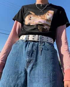 ANGELSFITS aesthetic tshirt tee outfit vintage fashion egirl grunge girl clothing clothes oversized cropped ariana grande merch This. Grunge Outfits, Tumblr Outfits, Edgy Outfits, Mode Outfits, Girl Outfits, Layering Outfits, Egirl Fashion, Grunge Fashion, Cute Fashion