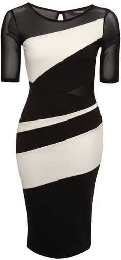 Jane Norman England Monochrome Colour Block Midi Dress - Lyst