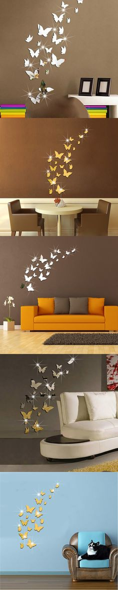 20pcs/set Modern Simple 3d Crystal Mirror Sliver And Golden Butterfly Wall Stickers Party Wedding Decor Diy Home Decorations $11.99