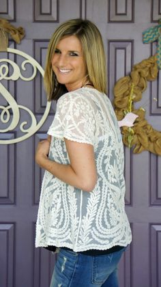 Pixley Ashton Crochet Lace Kimono @stitchfix #stitchfix