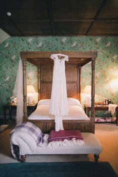 """Love the Martyn Suite in Gregans Castle for the """"girls getting ready area"""" - so stunning and GREAT light for doing hair and makeup. Ireland, Castle, Weddings, Luxury, Bed, Makeup, Girls, Hair, Furniture"""
