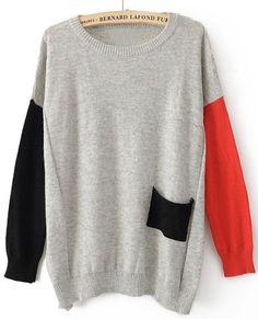 Grey Round Neck Long Sleeve Pocket Embellished Sweater $32