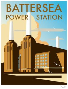 Battersea Power Station (DT17) Town & City Print by Dave Thompson http://www.thewhistlefish.com/product/dt17f-battersea-framed-art-print-by-dave-thompson #battersea #london